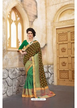 Mind Blowing Green Banarasi Silk Saree