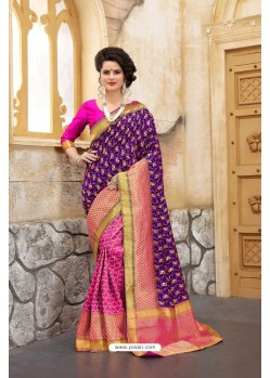 Attractive Purple Banarasi Silk Saree
