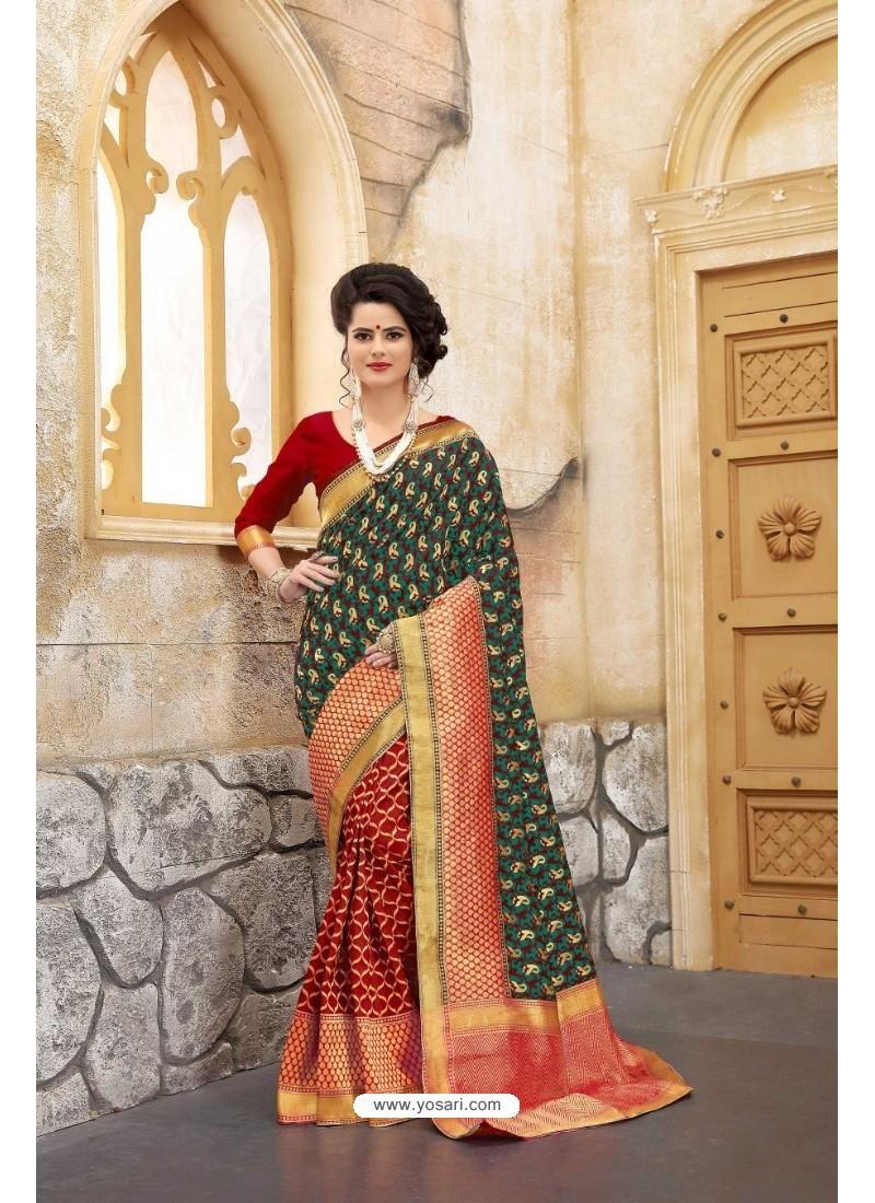 Pretty Red Banarasi Silk Saree