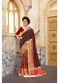 Nice Looking Maroon Banarasi Silk Saree
