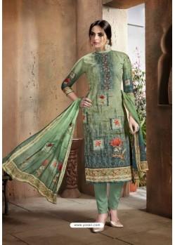 Mehendi Cotton Printed Suit