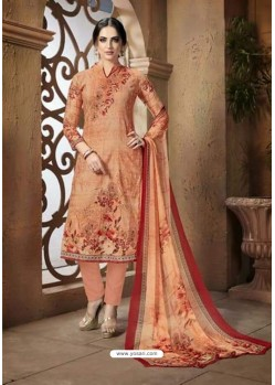 Peach Cotton Printed Suit