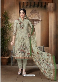 Olive Green Cotton Printed Suit