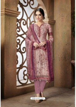 Light Pink Cotton Printed Suit