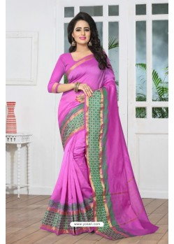 Eye Catching Pink Banarasi Silk Saree