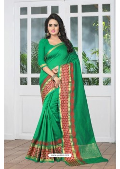 Excellent Green Banarasi Silk Saree