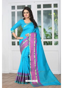 Desirable Blue Banarasi Silk Saree