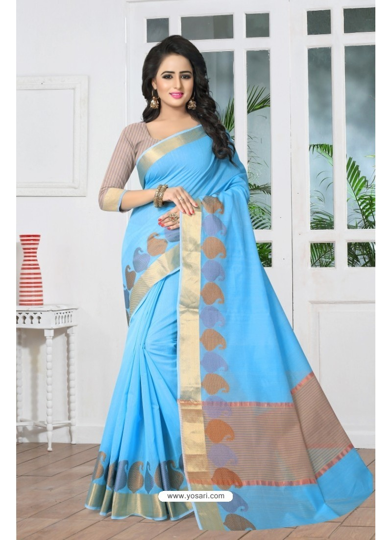 Genius Blue Banarasi Silk Saree