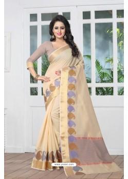 Fabulous Beige Banarasi Silk Saree