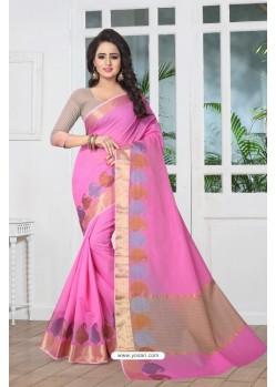 Fab Pink Banarasi Silk Saree