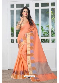 Charming Orange Banarasi Silk Saree
