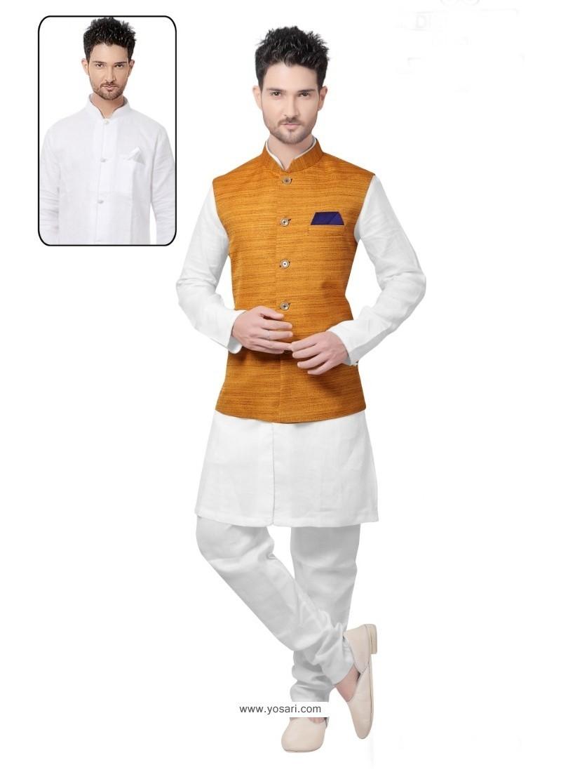 Magnificent White Linen Kurta Pajama