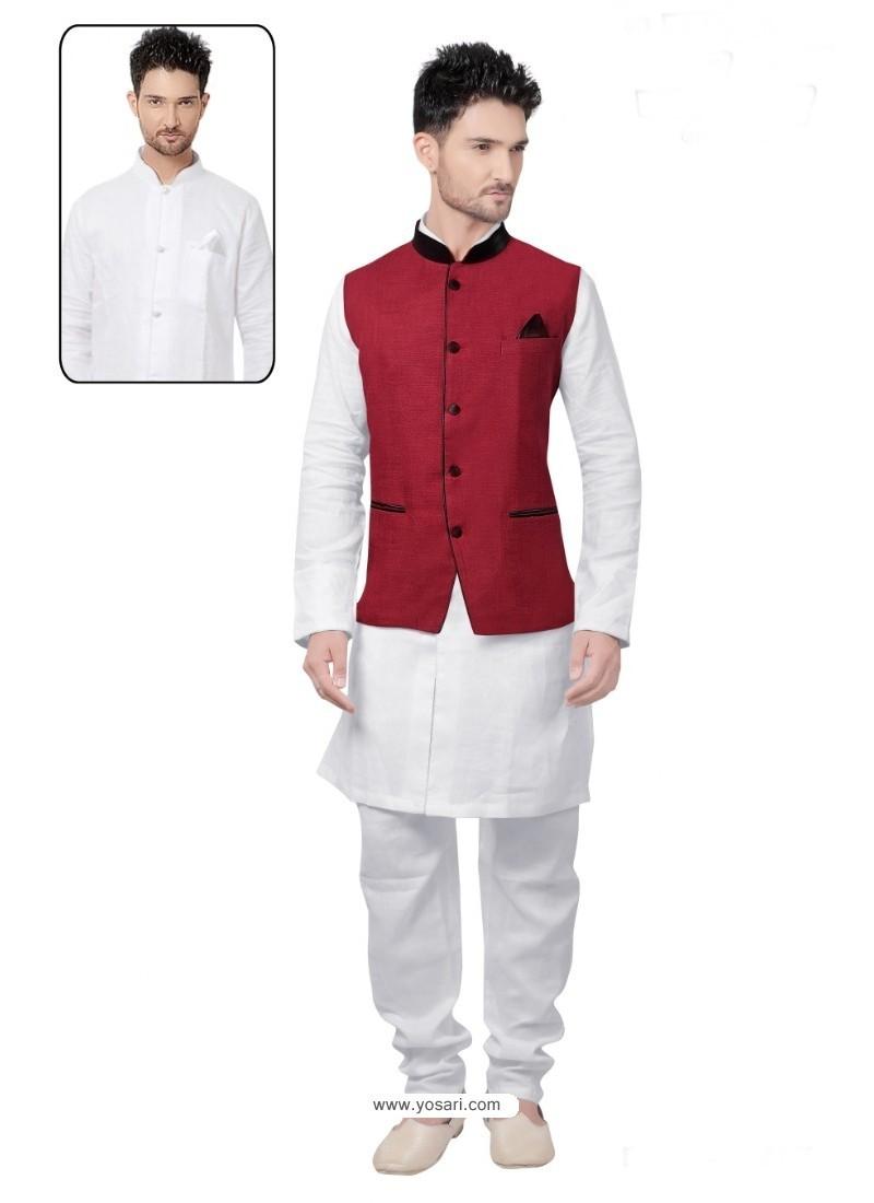 Deserving White Linen Kurta Pajama