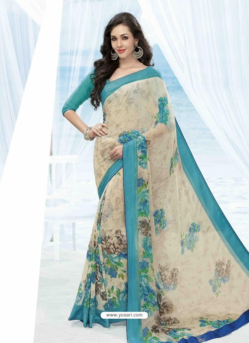 Sky Blue And Off White Print Work Saree