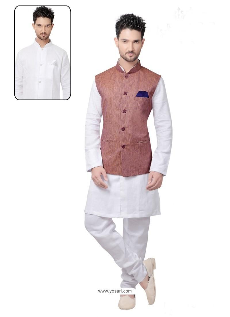 Fantastic White Linen Kurta Pajama