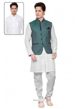 Fashionistic White Linen Kurta Pajama