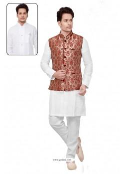 Desirable White Linen Kurta Pajama