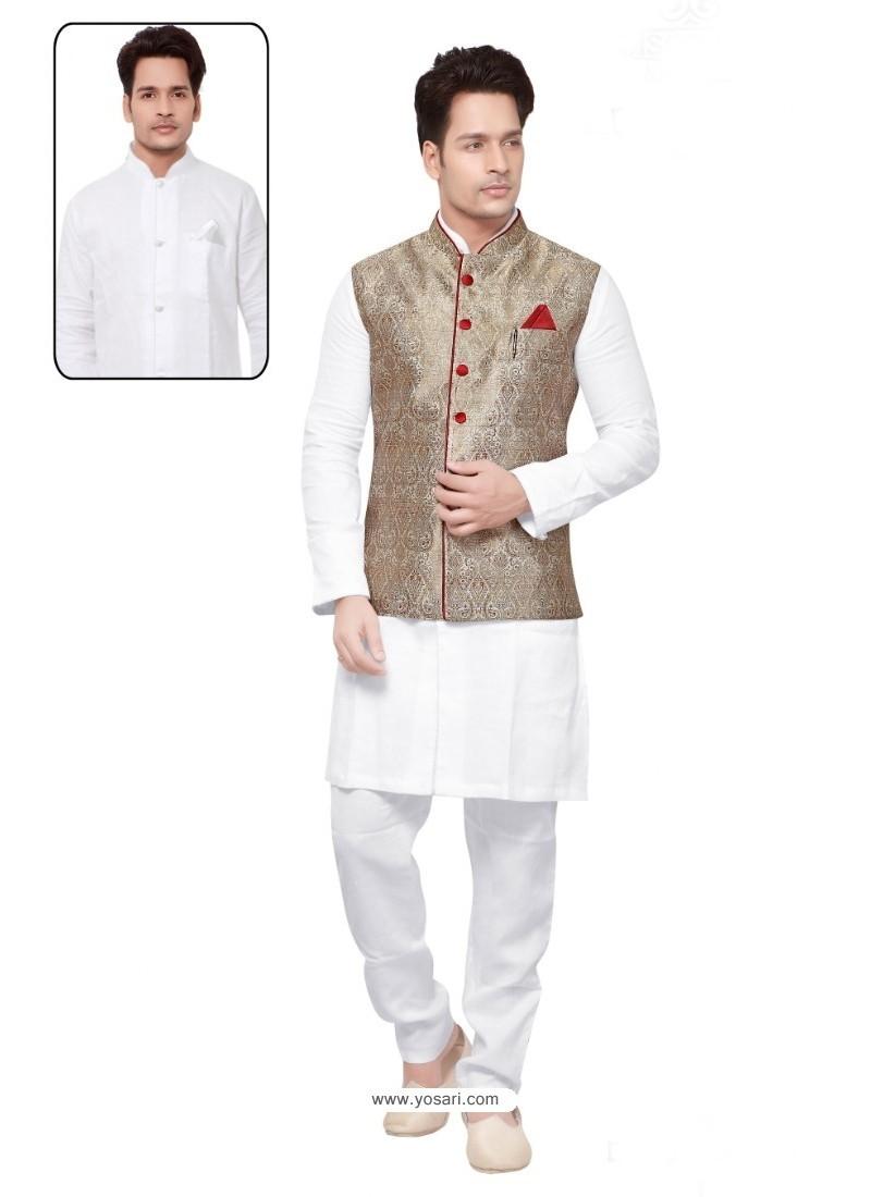 Genius White Linen Kurta Pajama
