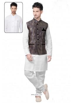 Fabulous White Linen Kurta Pajama