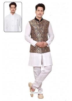 Charming White Linen Kurta Pajama