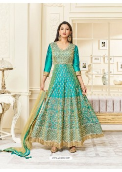 Aqua Mint Silk Embroidered Floor Length Suit