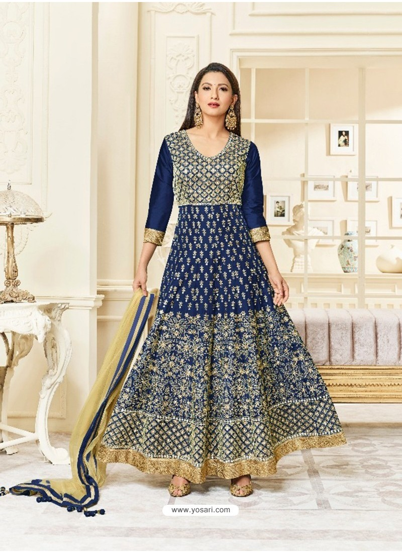 Navy Blue Silk Embroidered Floor Length Suit
