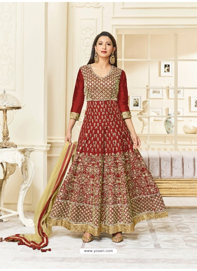 Wine Silk Embroidered Floor Length Suit