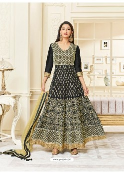 Black Silk Embroidered Floor Length Suit