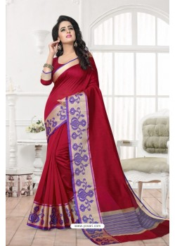 Gorgeous Wine Banarasi Silk Saree