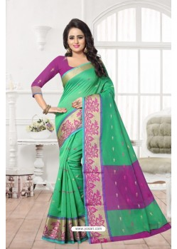 Modern Green Banarasi Silk Saree