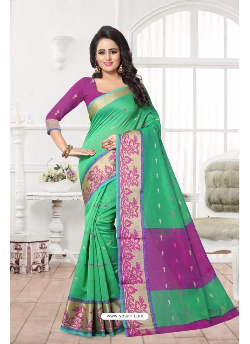 Modern Green Banarasi Silk Saree