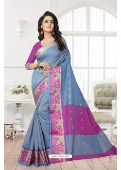 Markable Grey Banarasi Silk Saree
