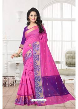 Glowing Pink Banarasi Silk Saree