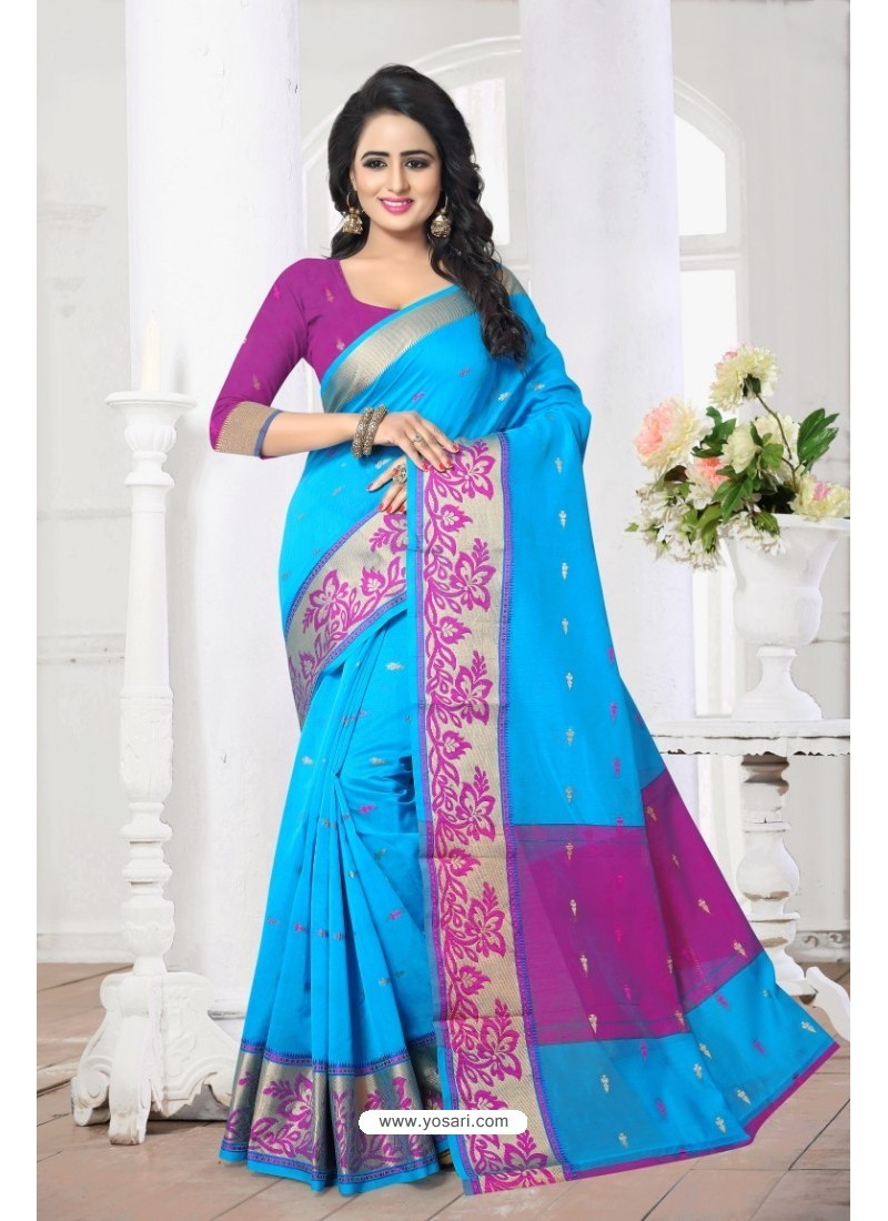 Radiant Blue Banarasi Silk Saree
