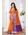 Exceptional Orange Banarasi Silk Saree