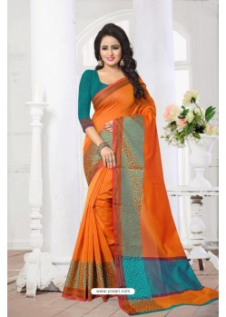 Delightful Orange Banarasi Silk Saree