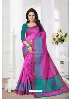 Fantastic Pink Banarasi Silk Saree