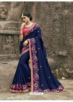 Glorious Navy Blue Munga Silk Saree