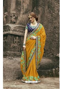 Lovely Mustard Munga Silk Saree