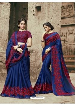 Dazzling Blue Chinnon Saree