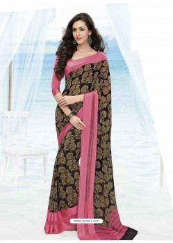 Peach Print Work Saree