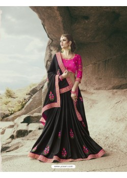 Lustrous Black Modal Satin Saree