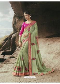 Flawless Olive Green Saree
