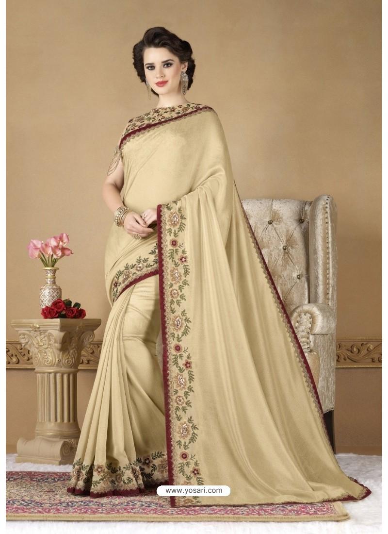 Golden Crepe Silk Party Wear Saree