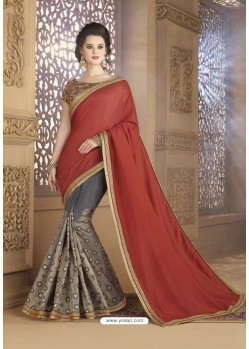 Grey Crepe Silk Party Wear Saree