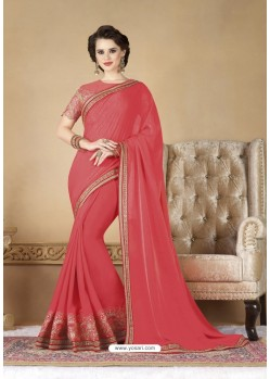 Peach Faux Georgette Party Wear Saree