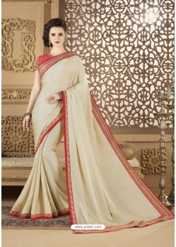 Off White Crepe Silk Party Wear Saree