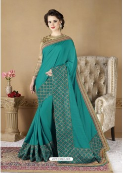 Teal Crepe Silk Party Wear Saree