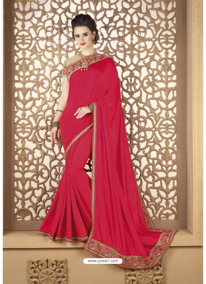 Crimson Faux Georgette Party Wear Saree