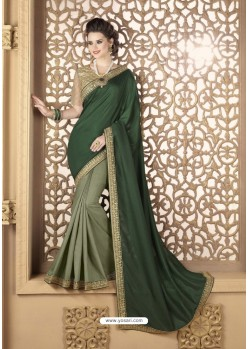 Green Crepe Silk Party Wear Saree